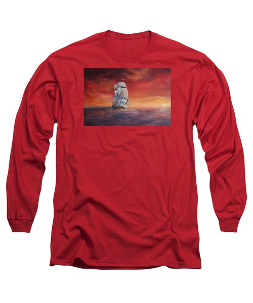 Long Sleeve T-Shirt featuring the painting The Endeavour On Calm Seas by Jean Walker