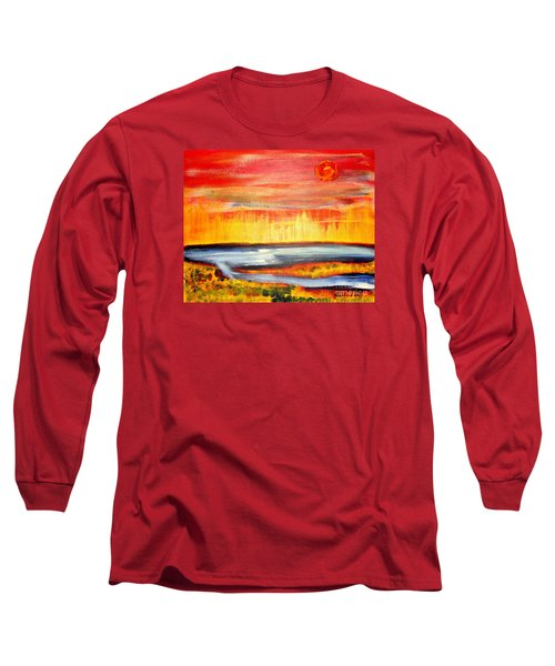 Long Sleeve T-Shirt featuring the painting The First Handcart Is Faith by Richard W Linford