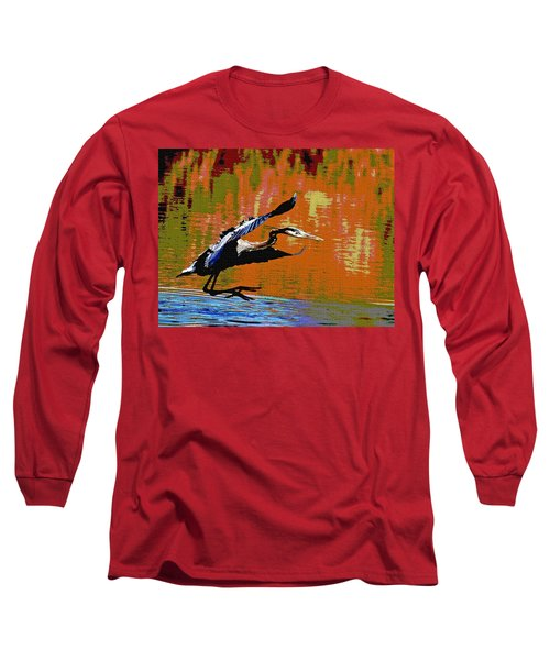 The Great Blue Heron Jumps To Flight Long Sleeve T-Shirt by Tom Janca