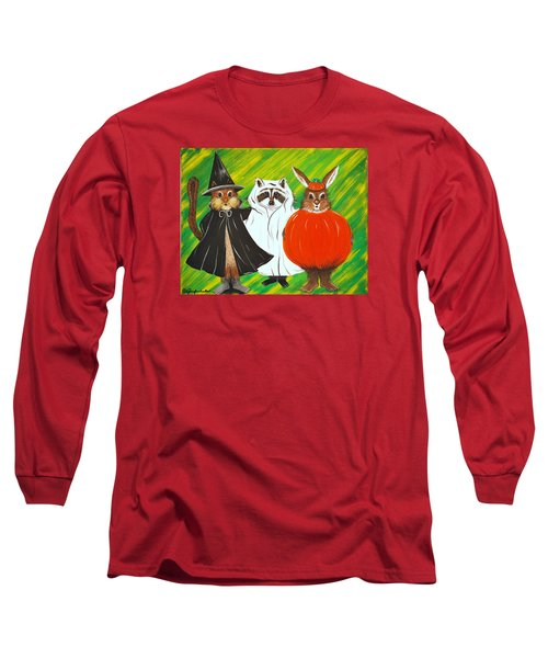 Long Sleeve T-Shirt featuring the painting The Halloween Gang by Jennifer Lake