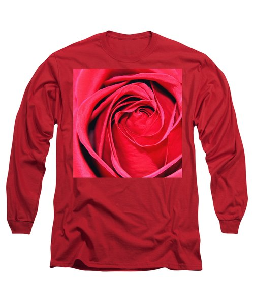 Long Sleeve T-Shirt featuring the painting The Red Rose Blooming by Karon Melillo DeVega