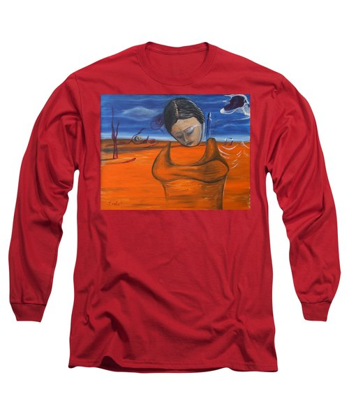 Long Sleeve T-Shirt featuring the painting The Saharan Insomniac by Christophe Ennis