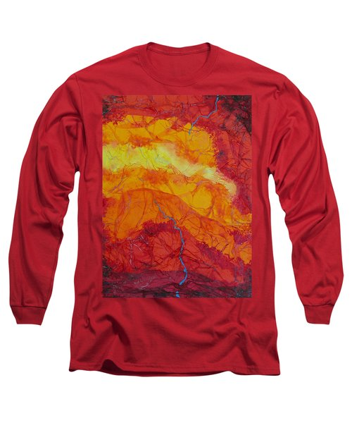 Long Sleeve T-Shirt featuring the mixed media The Thin Blue Line by Michele Myers