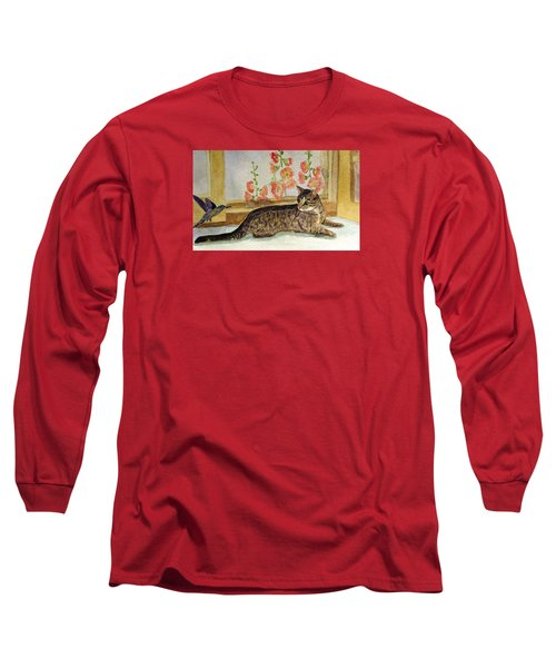 Long Sleeve T-Shirt featuring the painting The Visitor by Angela Davies