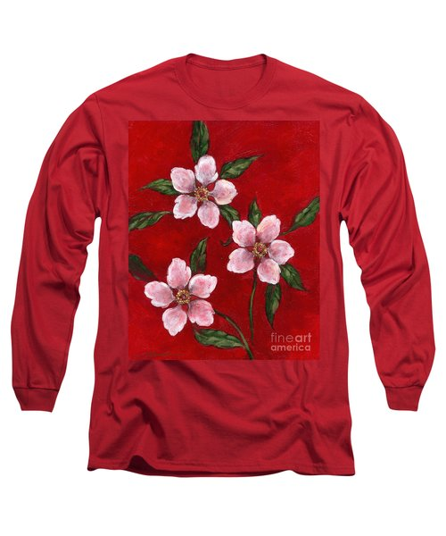 Three Blossoms On Red Long Sleeve T-Shirt
