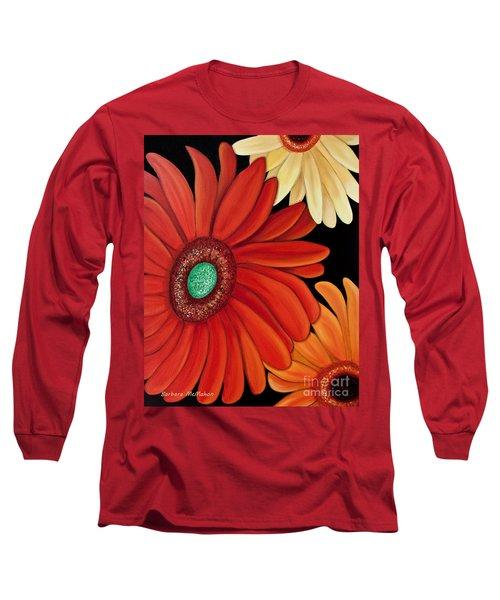 Long Sleeve T-Shirt featuring the painting Three Gerbera by Barbara McMahon