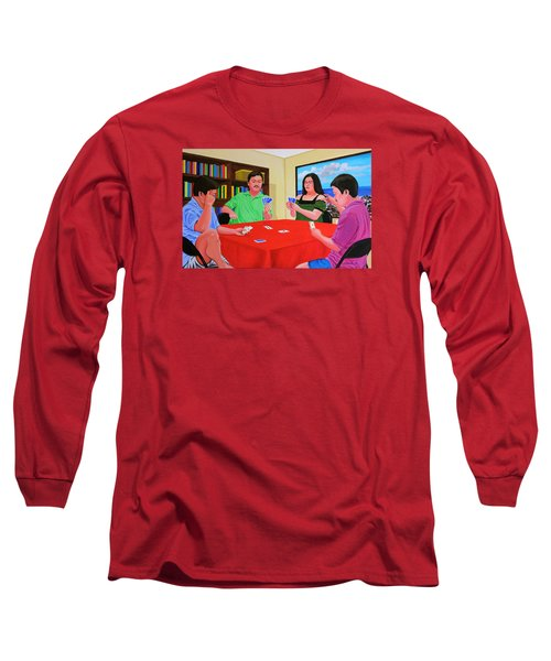Three Men And A Lady Playing Cards Long Sleeve T-Shirt by Cyril Maza