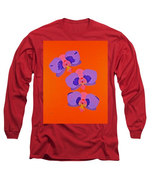 Long Sleeve T-Shirt featuring the mixed media Three Orchids by Michele Myers