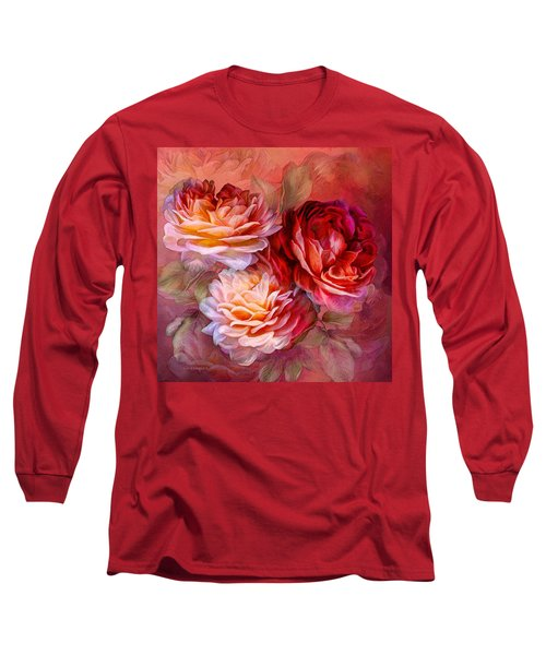 Long Sleeve T-Shirt featuring the mixed media Three Roses - Red by Carol Cavalaris