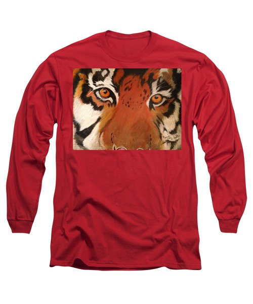 Tiger Eyes Long Sleeve T-Shirt by Renee Michelle Wenker