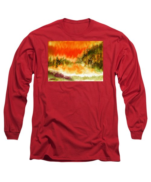 Long Sleeve T-Shirt featuring the mixed media Timber Blaze by Seth Weaver