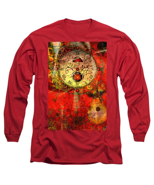 Time Passes Long Sleeve T-Shirt by Ally  White