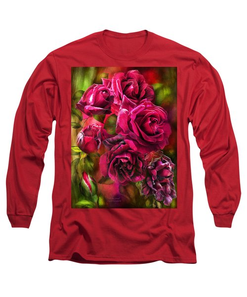 Long Sleeve T-Shirt featuring the mixed media To Be Loved - Red Rose by Carol Cavalaris