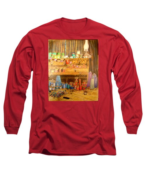 Long Sleeve T-Shirt featuring the drawing Tool Chest With Thimbles by Joseph Hawkins