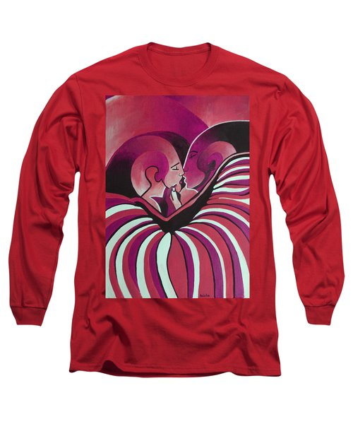 Long Sleeve T-Shirt featuring the painting Touched By Africa In  Red Hues by Tracey Harrington-Simpson