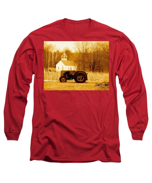 Tractor In The Field Long Sleeve T-Shirt by Desiree Paquette