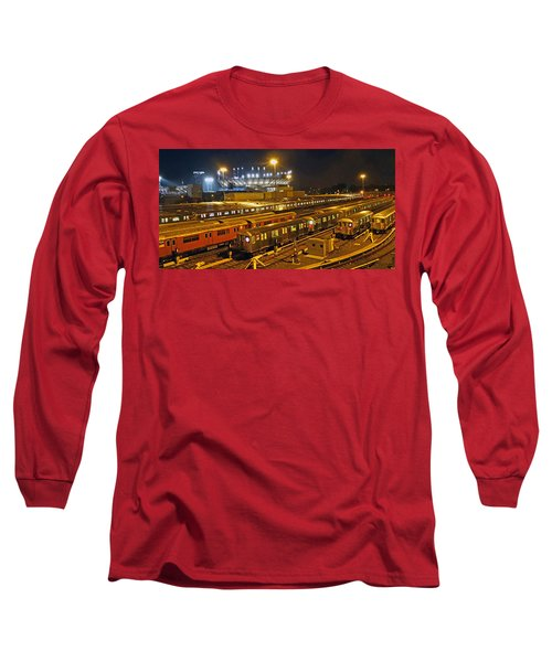 Trains Nyc Long Sleeve T-Shirt by Jeffrey Friedkin
