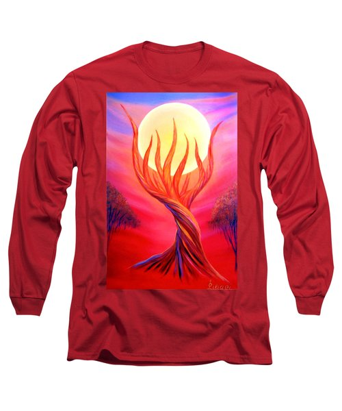 Long Sleeve T-Shirt featuring the painting Trapped Moon by Lilia D