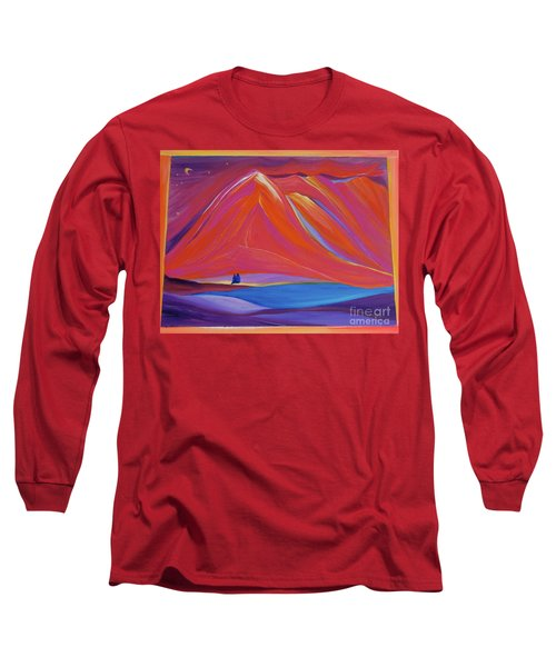 Long Sleeve T-Shirt featuring the painting Travelers Pink Mountains by First Star Art