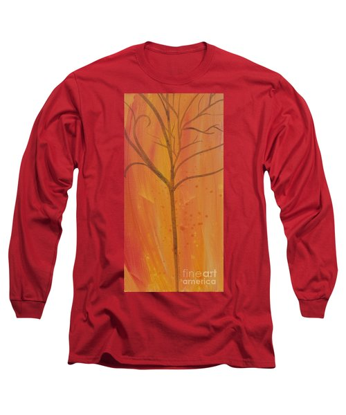 Tree Of Three Coral Long Sleeve T-Shirt by Robin Maria Pedrero