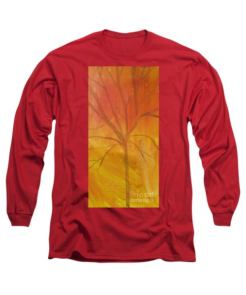 Tree Of Three Gold Long Sleeve T-Shirt by Robin Maria Pedrero