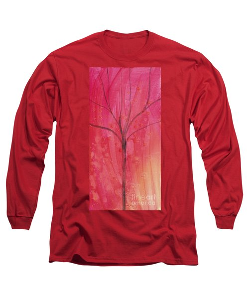 Long Sleeve T-Shirt featuring the painting Tree Of Three Pink by Robin Maria Pedrero