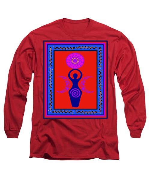 Long Sleeve T-Shirt featuring the digital art Triple Goddess by Vagabond Folk Art - Virginia Vivier