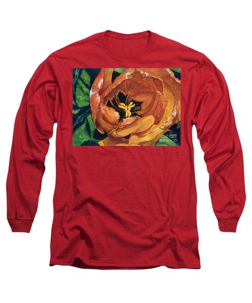 Tulip Swirl Long Sleeve T-Shirt by Barbara Jewell