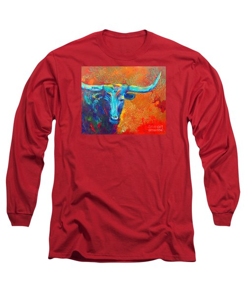 Turquoise Longhorn Long Sleeve T-Shirt by Karen Kennedy Chatham
