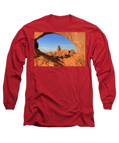 Long Sleeve T-Shirt featuring the photograph Turret Arch Through North Window by Alan Vance Ley