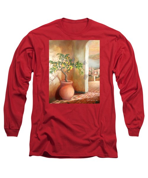 Long Sleeve T-Shirt featuring the painting Tuscan Lemon Tree by Michael Rock