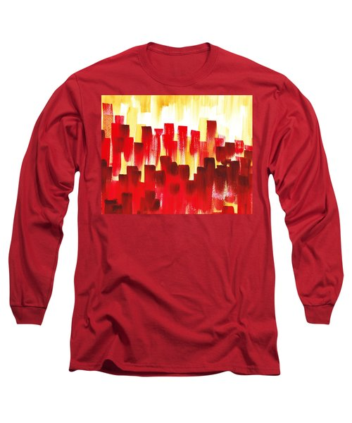 Urban Abstract Red City Lights Long Sleeve T-Shirt by Irina Sztukowski