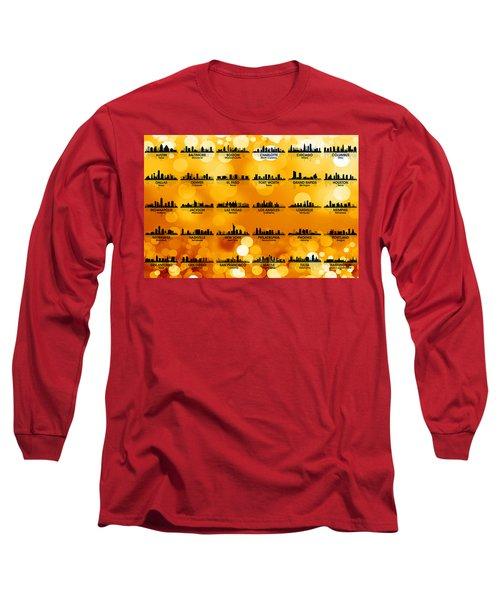 Usa Skylines 3 Long Sleeve T-Shirt