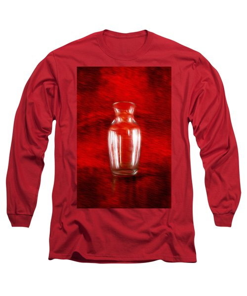 Long Sleeve T-Shirt featuring the mixed media Vase En Rouge by Aaron Berg
