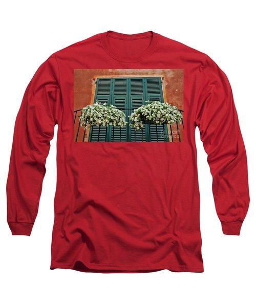 Long Sleeve T-Shirt featuring the photograph Venice Flower Balcony 2 by Allen Beatty