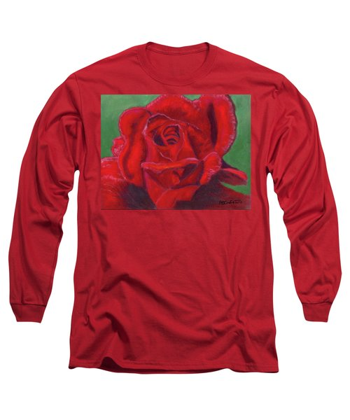Very Red Rose Long Sleeve T-Shirt by Arlene Crafton