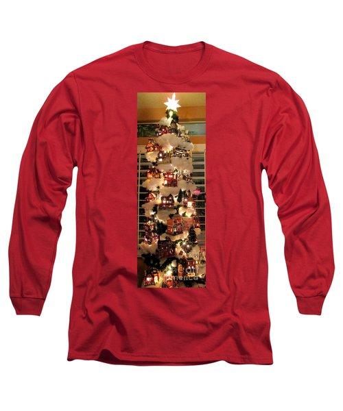 Village Christmas Tree Long Sleeve T-Shirt by Randall Weidner