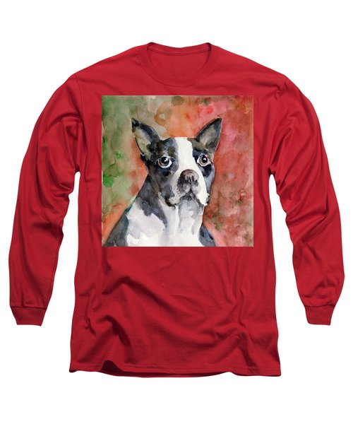 Long Sleeve T-Shirt featuring the painting Vodka - French Bulldog by Faruk Koksal