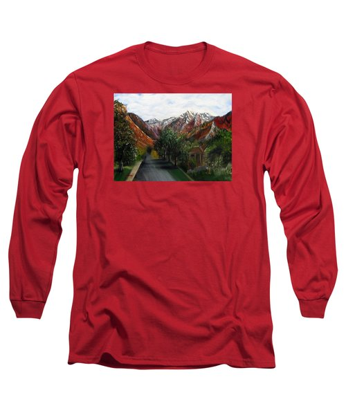 Wasatch Range Looking Up Binford St. Long Sleeve T-Shirt by LaVonne Hand
