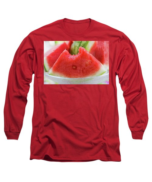 Wedge Of Watermelon, A Bite Taken, In A Glass Bowl Long Sleeve T-Shirt