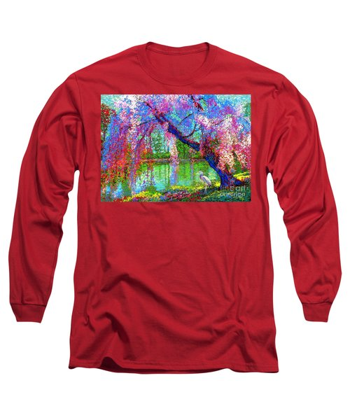 Weeping Beauty, Cherry Blossom Tree And Heron Long Sleeve T-Shirt