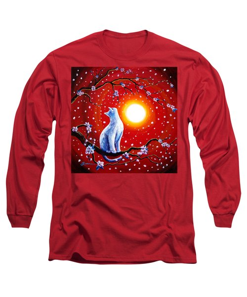 White Cat In Bright Sunset Long Sleeve T-Shirt by Laura Iverson