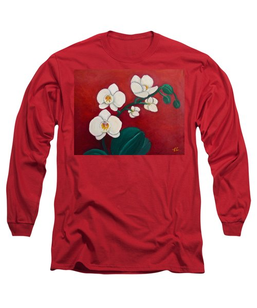 White Orchids Long Sleeve T-Shirt by Victoria Lakes