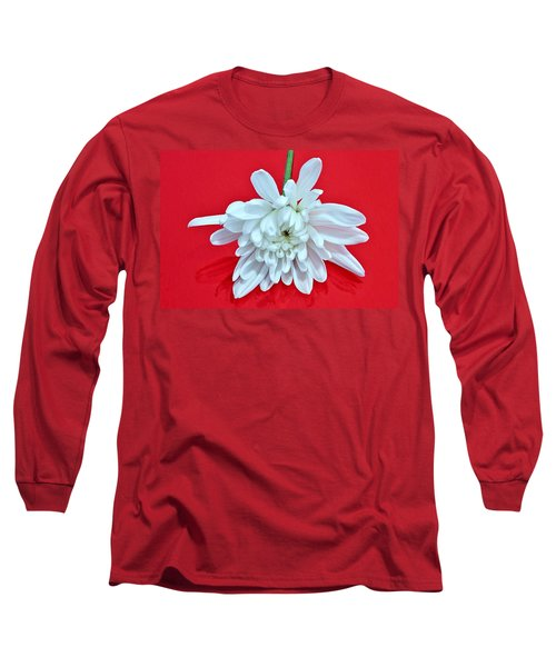 White Flower On Bright Red Background Long Sleeve T-Shirt