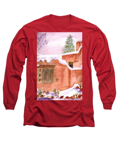 Long Sleeve T-Shirt featuring the painting Winter Adobe by Paula Ayers