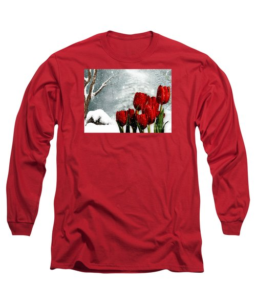 Winter Tulips Long Sleeve T-Shirt by Morag Bates