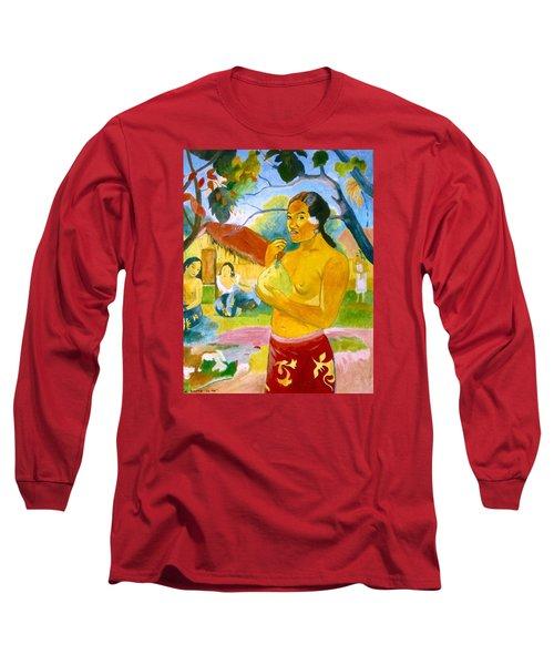 Woman Holding Fruit Long Sleeve T-Shirt