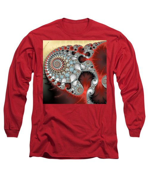 Wonderful Abstract Fractal Spirals Red Grey Yellow And Light Blue Long Sleeve T-Shirt by Matthias Hauser