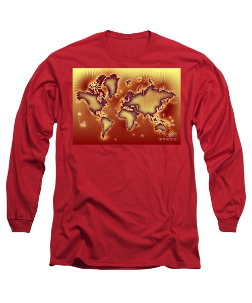 World Map Amuza In Red And Yellow Long Sleeve T-Shirt by Eleven Corners