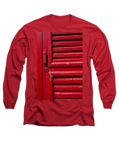 Worn Red Shuttered Door Long Sleeve T-Shirt by James Hammond